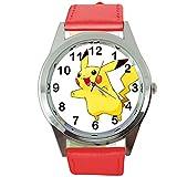 Taport Pikachu Pokémon rond Rouge montre à quartz Bande de cuir + Gratuit batterie de rechange + Sac Cadeau Gratuit