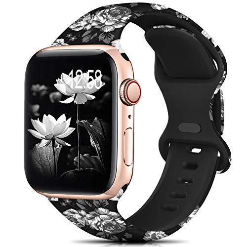 Sport Band Compatible with Apple Watch Bands 42mm 44mm Size for Women Men,Floral Silicone Printed Fadeless Pattern Band for iWatch series 6 5 4 3 2 se , Black Flowers,42MM/44MM S/M