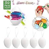 Sinwind 50x Ostereier Dekoeier Plastikeier Eier für Ostern Zum Basteln Bemalen Aufhängen aus Plastik, Aufhängen Eier mit Seil, Ostern Basteln Bemalen für Dekoration und Geschenk