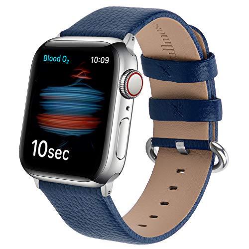 Fullmosa kompatibel mit Apple Watch Armband 44mm 42mm 40mm 38mm, Lederband Ersatzband für Damen Herren, Klassische Leder Armbänder für iWatch 6/SE/5/4/3/2/1