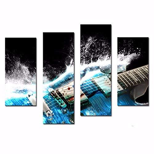 LOVELYJ Cuadros en Lienzo Guitarra Eléctrica Lienzo con 4 Paneles En Azul...