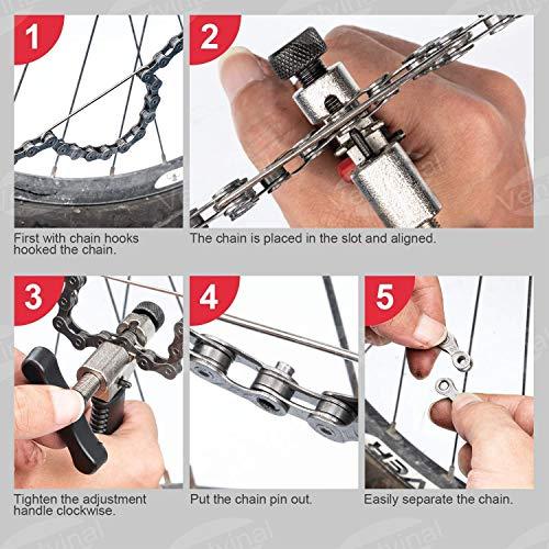 Ventvinal Kettenwerkzeug Fahrrad, Kettennieter Fahrrad für 7 8 9 10 11 12 Fach Fahrradkette Kettennietdrücker Ketten Entferner und Fahrrad Reparatur Werkzeug Set - 5