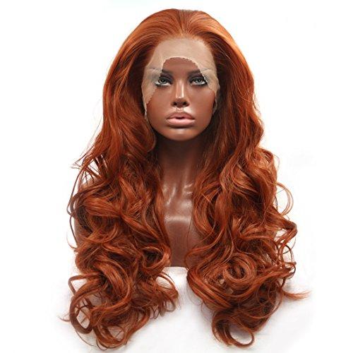 BESTUNG Peluca de pelo sintético sin pegamento, de color rojo y negro, de encaje natural, sin ondas, parte delantera, resistente al calor, para mujer, 50,8 cm (rojo cobre)