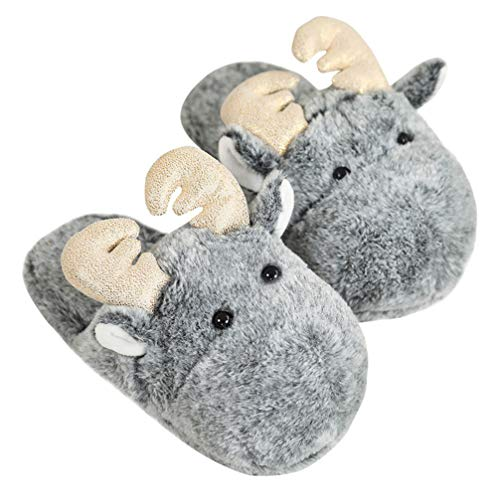 Holibanna Christmas Reindeer Slippers Slip on Plush Elk Indoor Fluffy Mute Soft Sliders Flats One Size for Adults (Grey)