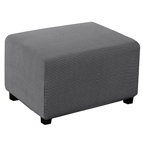 Turquoize Stretch Ottoman Cover Ottoman Slipcover Sofa Cover Footstool Protector Storage Ottoman Covers Furniture Protector Soft Rectangle slipcover with Elastic Bottom (Large,Gray)