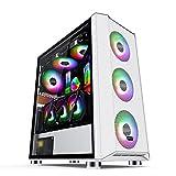 WERTYU Caja de PC Gaming, Ventiladores Incluidos, Panel Cristal Templado Pc del Caso (Color:A)
