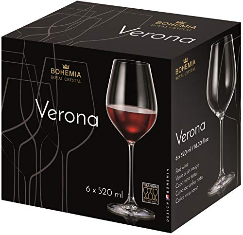 Bohemia Royal Crystal - Copas para Vino Tinto de 520 ml./18.3 fl OZ. Línea Verona. (Set de 6 copas) (520 ml)