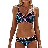 AILIEE Traje de baño para mujer Bohemia push-up acolchado sujetador playa bikini conjunto traje de baño retro ropa de playa traje de baño traje de baño estampado trajes de baño bikini de cintura alta