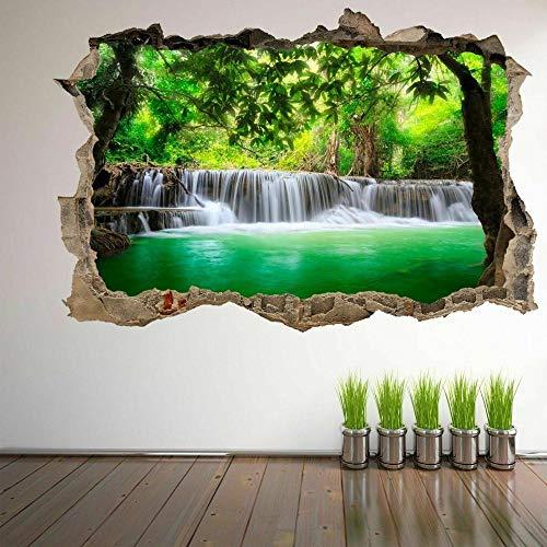 HUJL Pegatinas de paredWaterfall River Forest 3D Wall Art Sticker Mural Decal Poster Nature View GK14