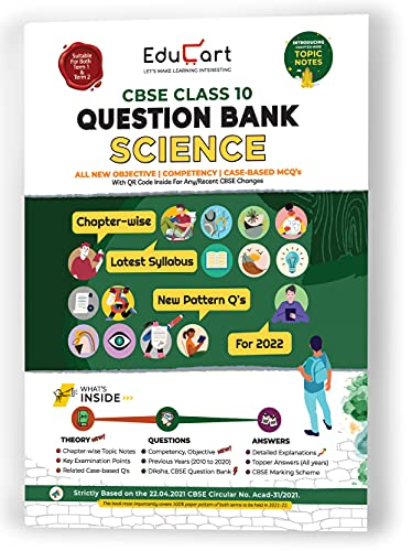 Educart SCIENCE Class 10 CBSE Question Bank for 2022 Exam (Includes Term 1 & 2 New Pattern MCQ's) (Edubook)
