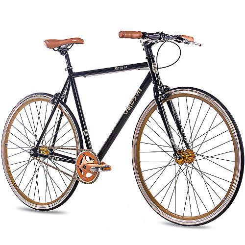 CHRISSON 28 Zoll Vintage Fixie Singlespeed Retro Fahrrad FG Flat 1.0 schwarz Gold 56 cm - Urban Old School Fixed Gear Bike für Damen und Herren