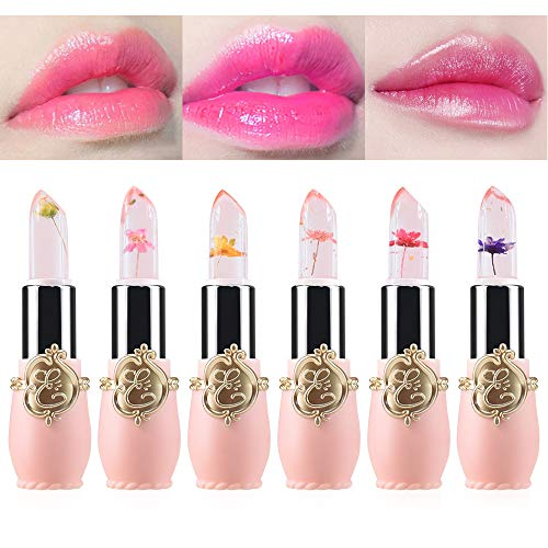 Freeorr 6PCS Flowers Design Crystal Jelly Lipstick, Long Lasting Nutritious Lip Balm Lips Moisturizer Magic Temperature Color Change Lipstick-01