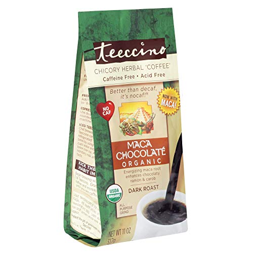 Teeccino Chicory Coffee Alternative – Maca Chocolaté – Ground Herbal Coffee That's Prebiotic, Caffeine Free & Acid Free, Dark Roast, 11 Ounce