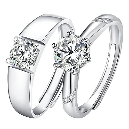 GYAM Anillo Anillo De Pareja Elegante Y Personalizado S925 Plata De Ley con Incrustaciones De Diamantes Moissan para Anillos De Diamantes De Boda Y Compromiso