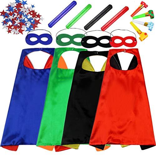 EMIN Kinder Jungen Superhelden Kostüm Set aus Umhang, Maske, Aufkleber, DIY Rollenspiel Spielzeug Geschenke für Kinder Superhelden Halloween Party