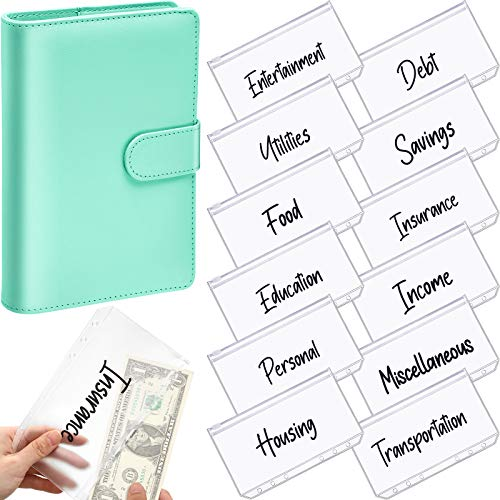 A6 PU Leather Notebook Binder Planner Budget Organizer Round Ring Binder Cover Magnetic Personal Planner Binder with 12 Binder Pocket Binder Zipper Folders for Bill Planner (Green, Black Printing)
