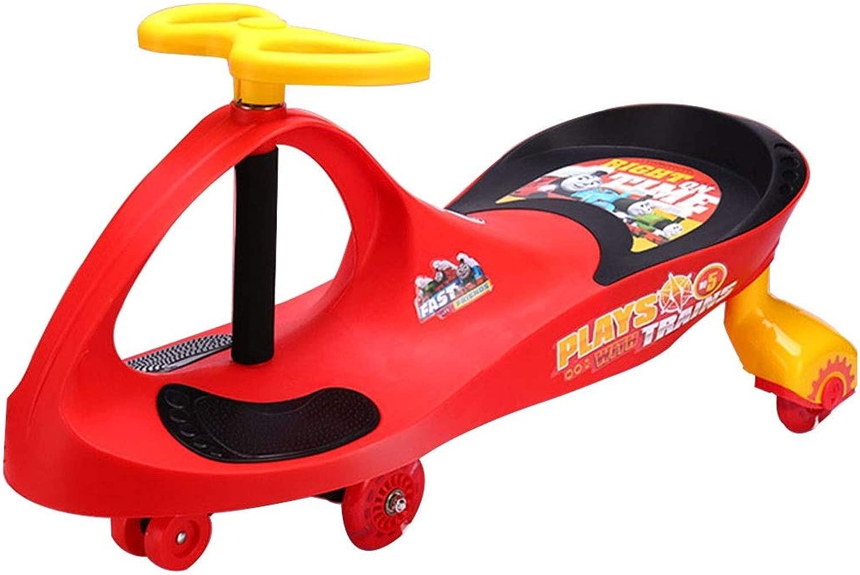 GXY Equilibrio Triciclo Bambino Torsione Auto Senza Pedale diapositiva Girello Magnetico Flash Ruota di autoico Cuscinetto 60 kg 2-4 Anni Regalo di Compleanno (Coloree   rosso, Dimensione   42  80  29CM)