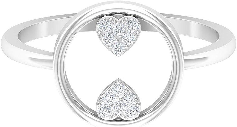 0.08 CT HI-SI Round Shape Diamond Ring, Open Circle Ring, Unique Engagement Ring, Diamond Heart Ring, Bridal Weding Ring, Minimalist Anniversary Ring, 14K Gold