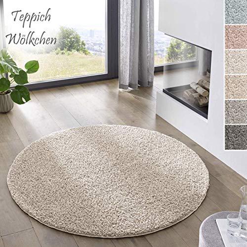 Teppich Wölkchen Shaggy-Teppich | Flauschiger Hochflor für Wohnzimmer, Kinderzimmer oder Flur Läufer | Einfarbig, Schadstoffgeprüft, Allergikergeeignet I Creme - 120 rund