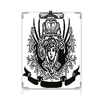 クリップボード A4 女王 かわいい画板 装飾的なヴィンテージの華やかなバナー A4 タテ型 クリップファイル ワードパッド ファイルバインダー 携帯便利女性の肖像画 歴史的な紋章ロイヤル装飾