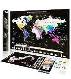 Exsusia Mappa del Mondo da Grattare Design Esclusivo - Mappamondo da Grattare + Cartina Italia da Grattare - Scratch Map del Viaggiatore - Imperdibile Cartina Mondo da Grattare - Idea Regalo Natale