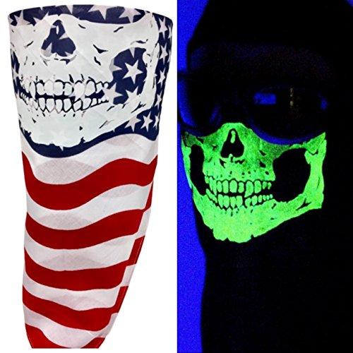 American Made Red White Blue USA Flag Cotton Half Face Bandana Mask Glow In The Dark Neon Short Fangs Skull VELCRO®Brand Adjustable Reversible Biker Neck Scarf Cover