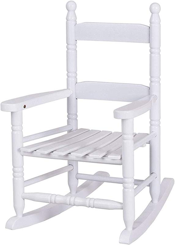 Blessing2220 Classic Kids Rocking Chair Porch Rocker Indoor Or Outdoor Suitable For 1 To 4 Years Old Wood White