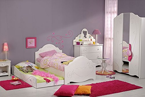 Kinderbett Anne 3, 90x200cm, weiß lackiert, mit Nachttisch und Bettkasten, Kinderzimmer - 6
