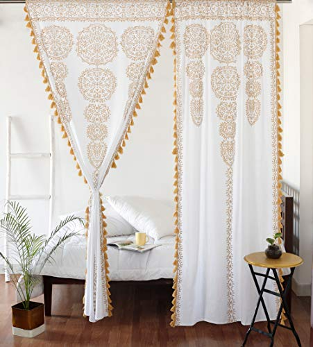 "Moroccan Medallion Floral Ombre Mandala Window Curtains Tapestry Indian Drape Balcony Room Decor Divider Sheer Wall Hanging with Pom Pom Lace (41"" W x 87"" L, White-Gold-Lace)"