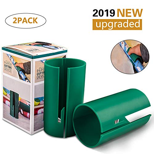 Gift Wrapping Paper Cutter, Kraft Craft Paper Roll Sliding Line Cut Trimmer for Christmas Birthday, Easy Quick, Creative Sliding Paper Roll Cutter 2 Pack (2 pcs)
