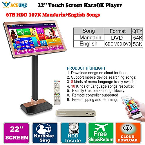 Sale!! 22''Touch Screen Karaoke Player,6TB HDD 107K Chinese(Mandarin) DVD Songs,English CDG,VCD, DVD...