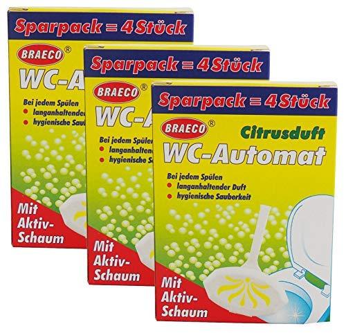 Preisjubel 12x WC-Automat Citrusduft, WC-Spüler 4er Pack mit Aktivschaum, WC-Duftspüler