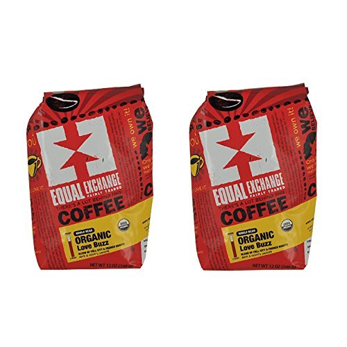 Equal Exchange Love Buzz Blend Organic Coffee Bean, 12-Ounce Packages (Pack of 2)