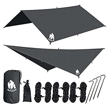 Chill Gorilla 10x10 Hammock Waterproof Rain Fly Tent Tarp 170  Centerline. Ripstop Nylon & Not Cheap Polyester Cover. Stakes Included. Survival Gear Backpacking Camping Camp Accessories. Gray