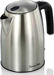 Fortune Candy 1.8L Cordless Electric Kettle for Kitchen Pantry, Coffee, Tea, Water Kettle Pot - BPA Free - Auto Shut Off – Brush Stainless Steel Finish with Matte Black Base
