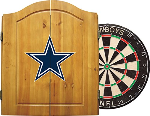 Imperial Officially Licensed NFL Merchandise: Dart Cabinet Set with Steel Tip Bristle Dartboard and Darts Dallas Cowboys