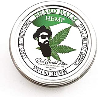 REAL BEARDED MEN 100% Natural Premium Beard Balm 2 oz - Hemp - Made in USA