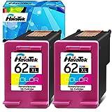 HavaTek Remanufacturado 62 XL Cartuchos de tinta para HP 62 XL 62XL Compatibles con HP Envy 7640 5640 5546 5660 5644 5544 5541 OfficeJet 250 200 5740 5744 5745 5746 5742 8040 Impresora (2 Tricolor)