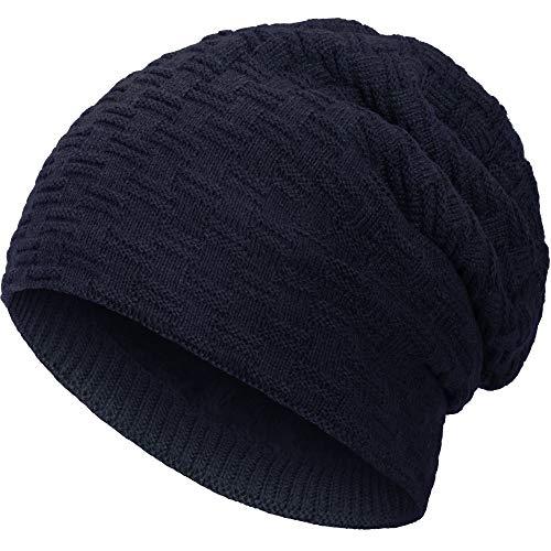 Compagno warm gefütterte Wintermütze Beanie Strickmütze Hat Herren Damen Mütze Haube Einheitsgröße, Farbe:Marineblau