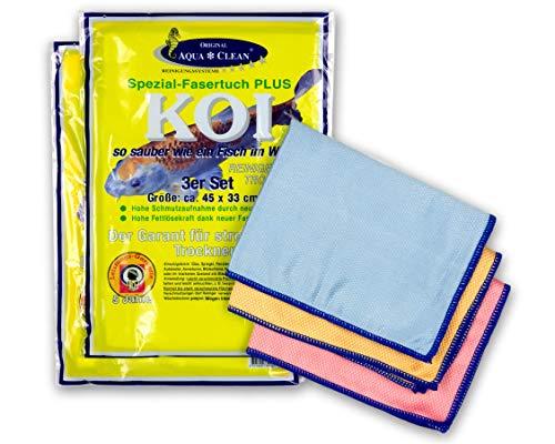 AQUA CLEAN Koi Mikrofaser Tuch Spezialfaser, zum Reinigen Trocknen Polieren, Set 6-teilig (2x 3 Stück), 45x33cm