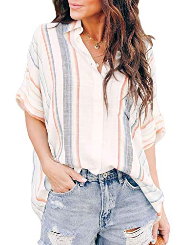 HOTAPEI Womens 2019 Fashion Summer Casual V Neck Striped Cuffed Sleeve Button Down Collar Front Pockets Chiffon Blouses for Women Shirts Tops Small Orange