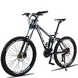 Tbagem-Yjr Ciudad De Camino De La Bicicleta, De Velocidad Variable Bicicleta De Montaña De Doble Suspensión del Mens 26 Pulgadas (Color : Black, Size : 24 Speed)