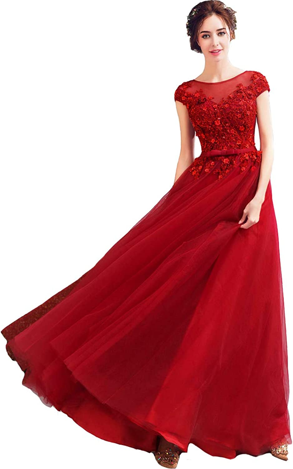 Kivary Tulle Bateau Beaded Lace Appliques Floral Long Formal Evening Prom Dress