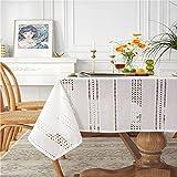 NHhuai Cubierta de Mesa de Simples Adecuado para la decoración de cocinas caseras, Varios tamaños Algodón Pastoral Bordado Hueco