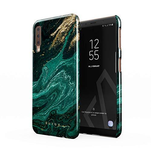 BURGA Hülle Kompatibel mit Samsung Galaxy A7 2018 - Handy Huelle Grün Smaragd Juwel Marmor Muster Emerald Green Gold Marble Mädchen Dünn Robuste Rückschale aus Kunststoff Handyhülle Schutz Hülle Cover