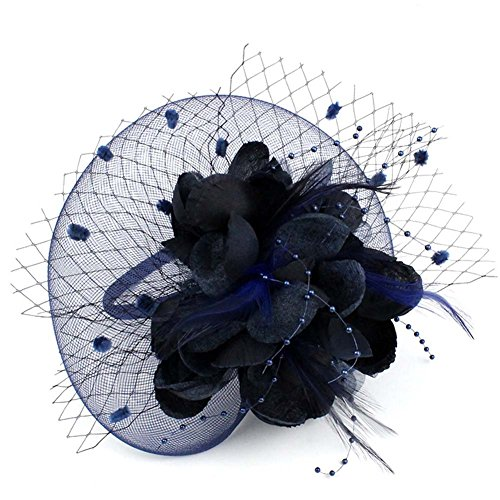 Auranso Netting Mesh Headband Big Flowers Fascinator Hat Navy Blue One Size
