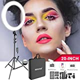 Neewer 20インチLEDリングライトキット:(1)44W調光可能な二色サークルライト(1)ライトスタンド(1)ボールヘッド(1)スマホホルダー(2)リチウムイオンバッテリー(1)USB充電器 肖像撮影、ビデオ撮影、メイク、自撮り撮影に対応「ホワイト」