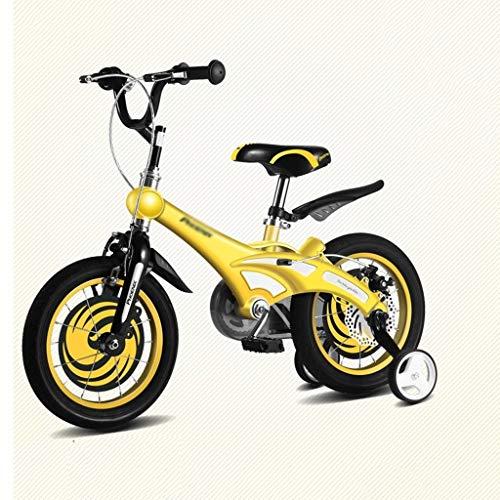 bicicleta niños 12' 14' Chico Ciclista Que aprende Rueda montaña Amortiguador Auxiliar Equilibrio (Color : Yellow, Size : 14inches)