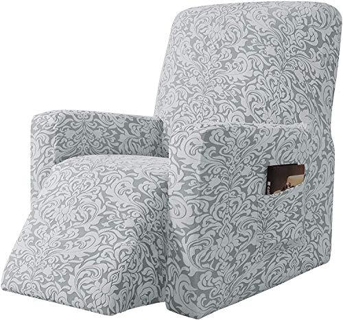 Subrtex - Funda de sillón relajante extensible Jacquard Damasco, 1 plaza, sillón relax, protector decorativo (modelo gris claro)
