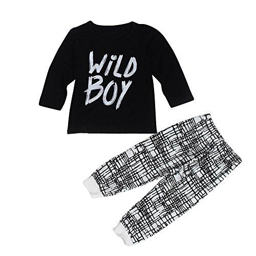 kingko® 1Réglez Toddler Infant Garçons Lettre Imprimer manches longues T-shirt Tops + Pantalons Tenues Vêtements (24M)